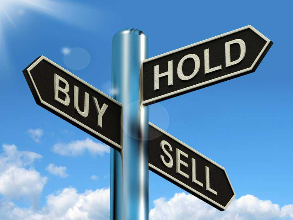 Buy Hold And Sell Signpost Represents Stocks Strategy